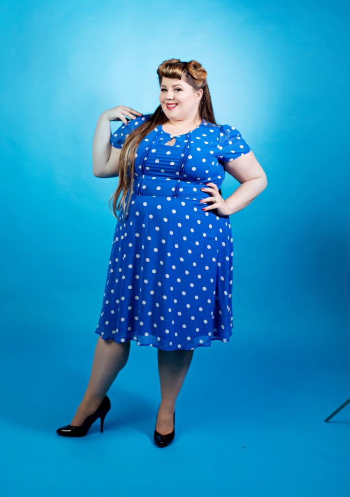 Pinup photography in Chicago with women in blue dress